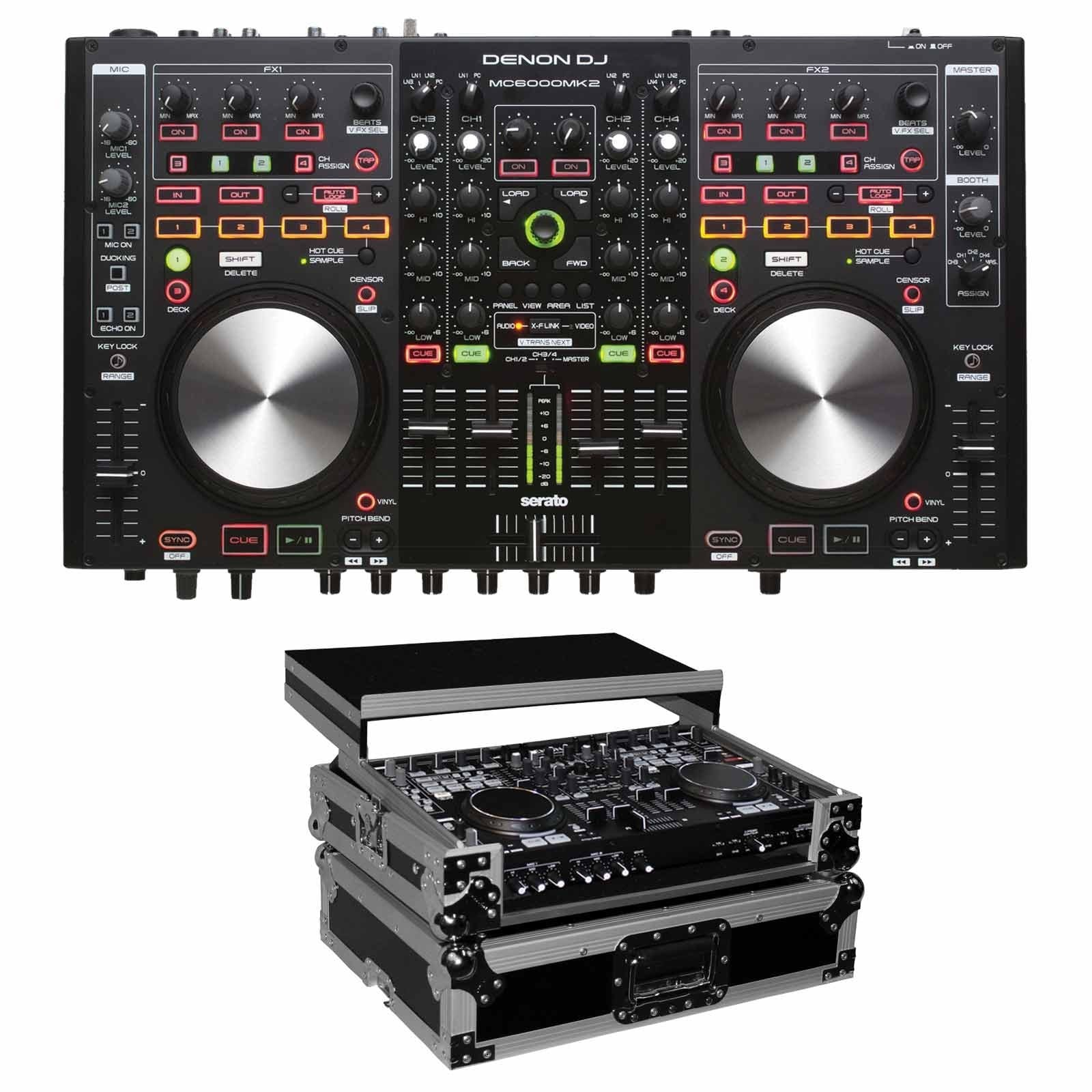 denon dj mc6000mk2 digital mixer controller package with flight case prosoundgear. Black Bedroom Furniture Sets. Home Design Ideas