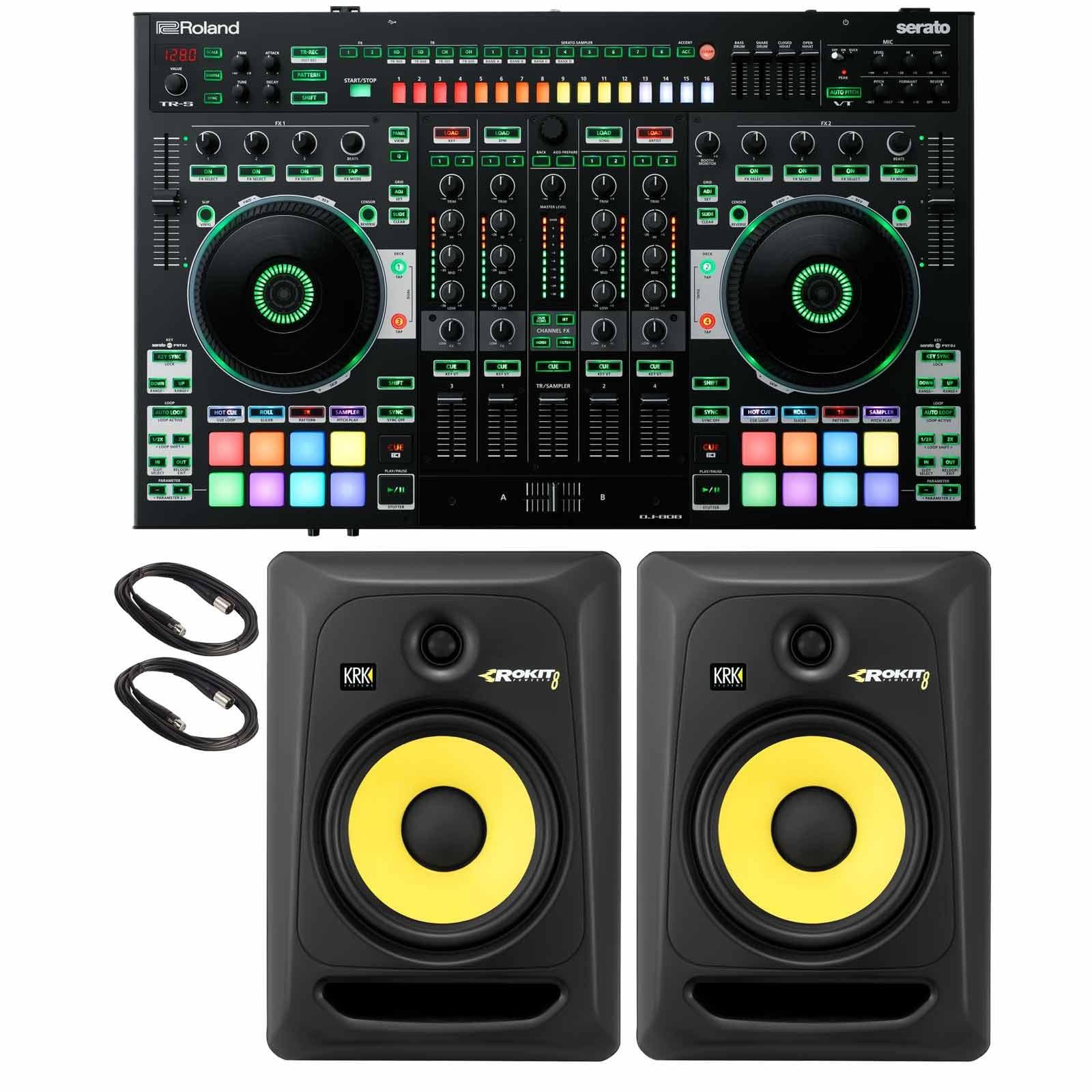 roland dj 808 4 channel mixer dj controller with krk rokit 8 g3 rp8g3 8 powered studio. Black Bedroom Furniture Sets. Home Design Ideas