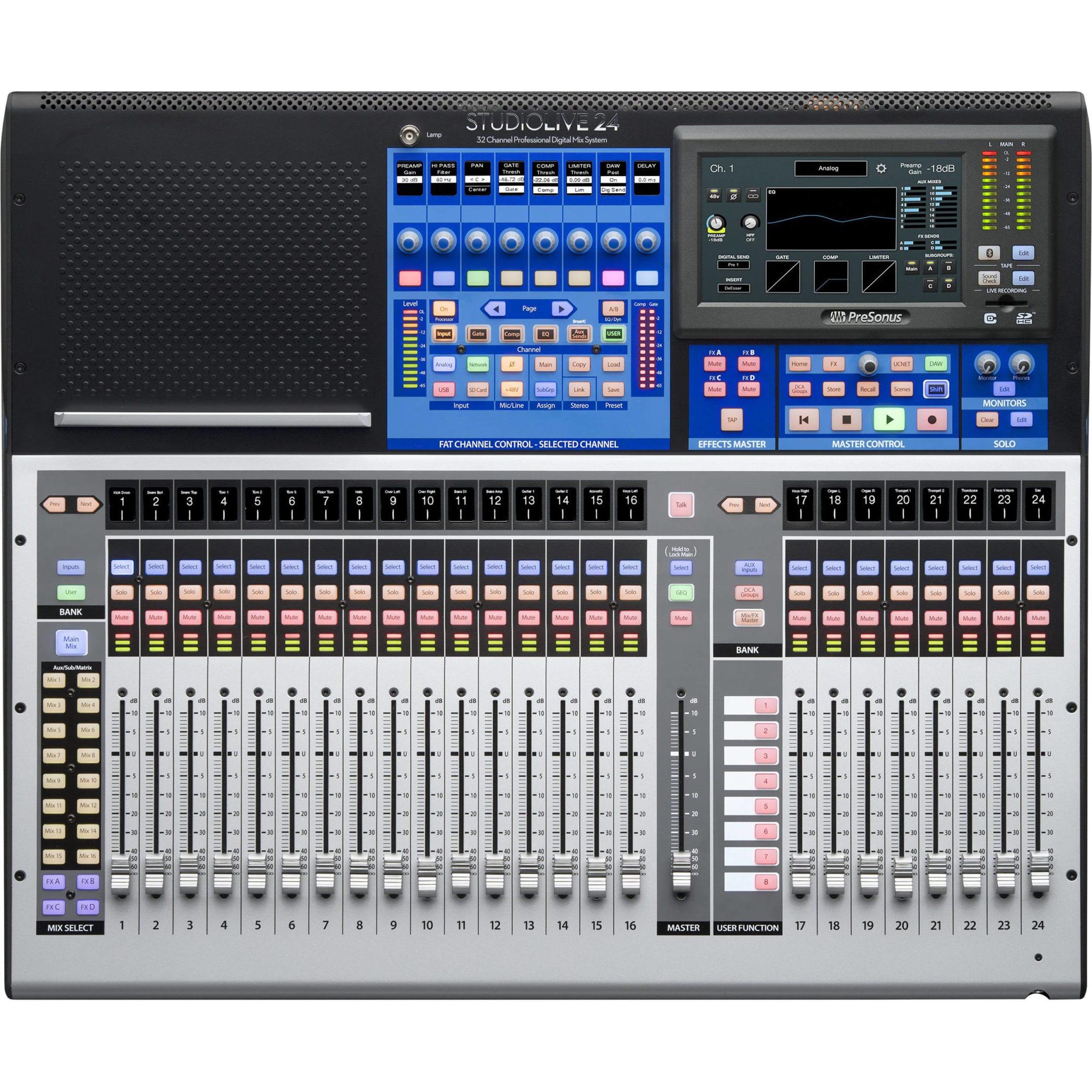presonus studiolive 24 series iii digital mixer 32 input with 25 motorized faders cables. Black Bedroom Furniture Sets. Home Design Ideas