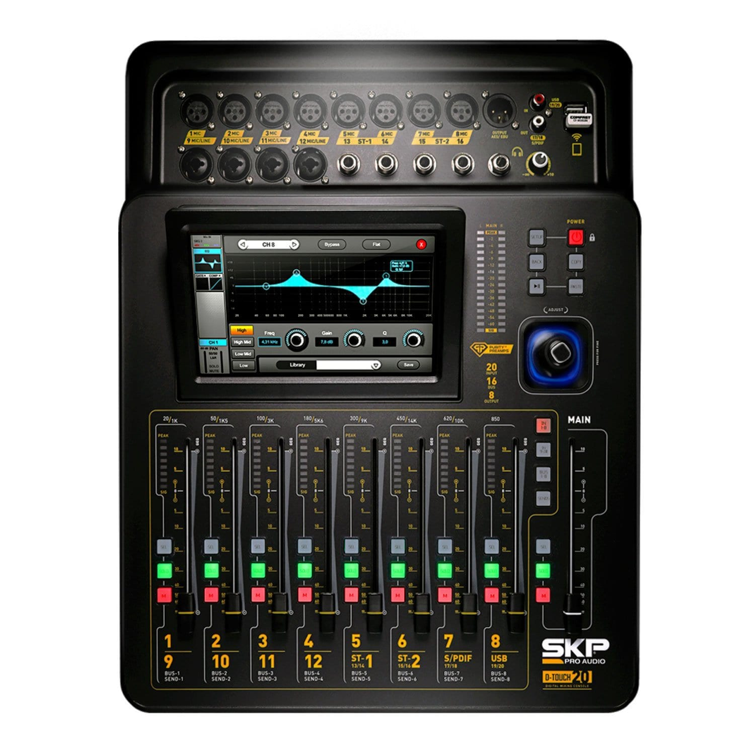 skp pro audio d touch 20 digital mixing console touchscreen wifi 20 inputs 16 bus 8 outs. Black Bedroom Furniture Sets. Home Design Ideas