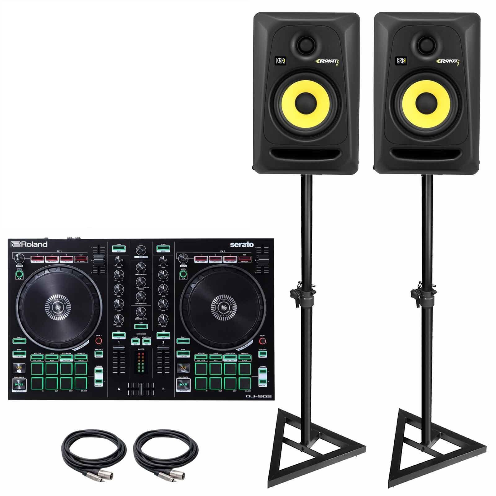 Roland DJ-202 Serato DJ Controller with KRK RP5G3 5-inch Active
