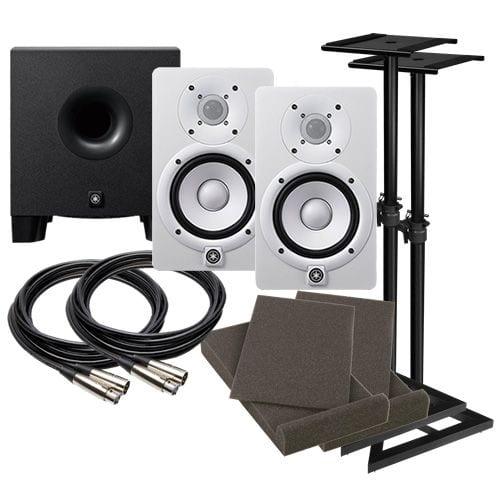Yamaha hs5 5 powered studio monitor speaker white for Yamaha hs5 speaker stands