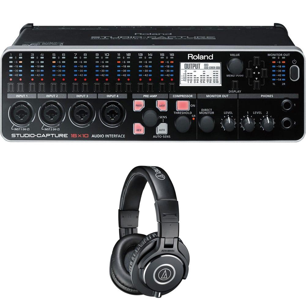 roland studio capture usb audio interface audio technica ath m40x monitor headphones black. Black Bedroom Furniture Sets. Home Design Ideas