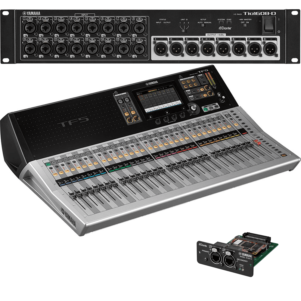 Yamaha TF5 32-Ch Digital Mixer with Tio1608-D Dante Stage