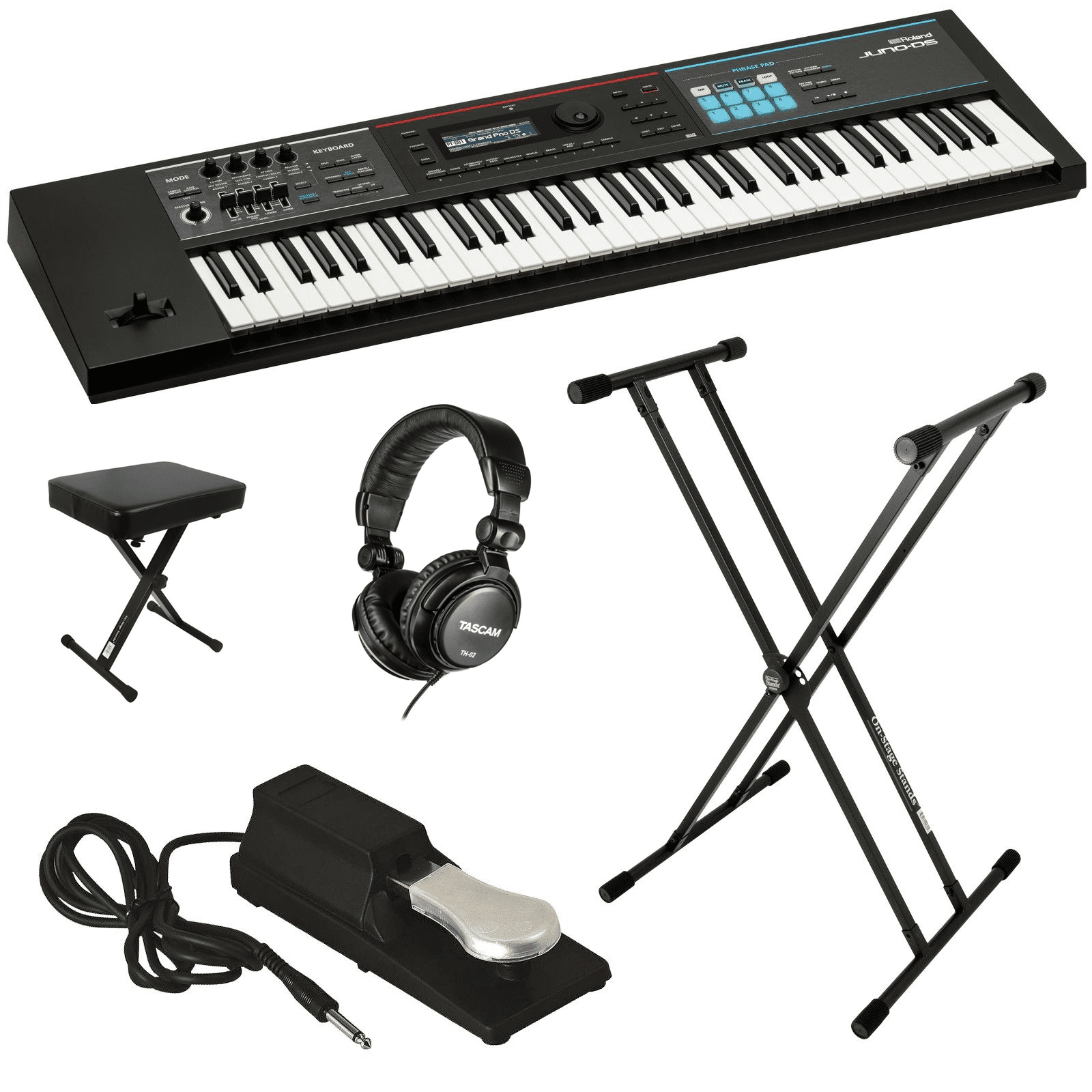 ROLAND JUNO-DS61 SYNTHESIZER KEY ESSENTIALS BUNDLE