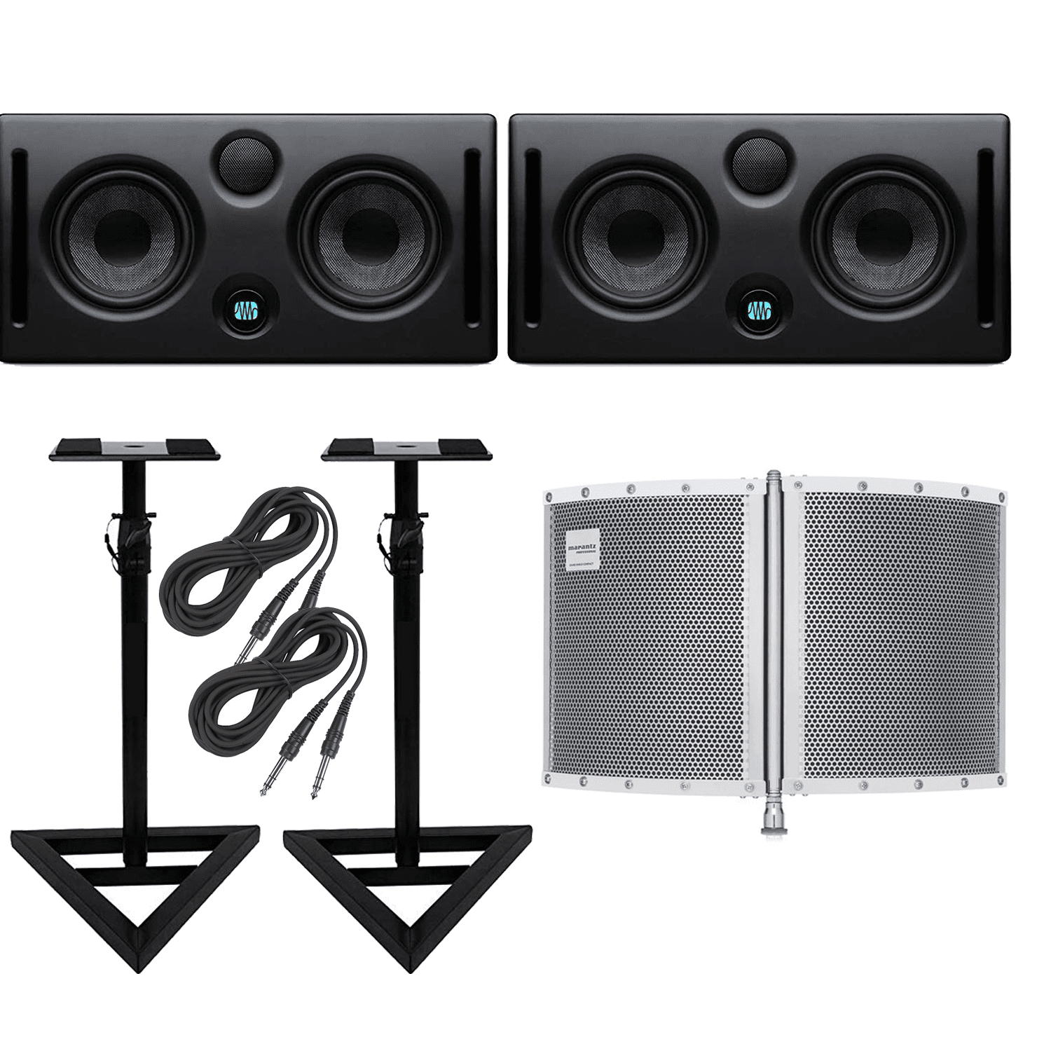 PreSonus Eris E66 Active MTM Series Nearfield Monitor Bundle with 1 x 15ft XLR Cable 1 x 10ft Instrument Cable and Genesis Tech Polishing Cloth