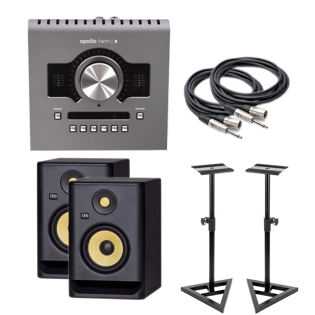 -1 Apollo Twin X (QUAD) - KRK RP5G4 Pair - Monitor Stands - XLR to 1:4 2 - $1499.99