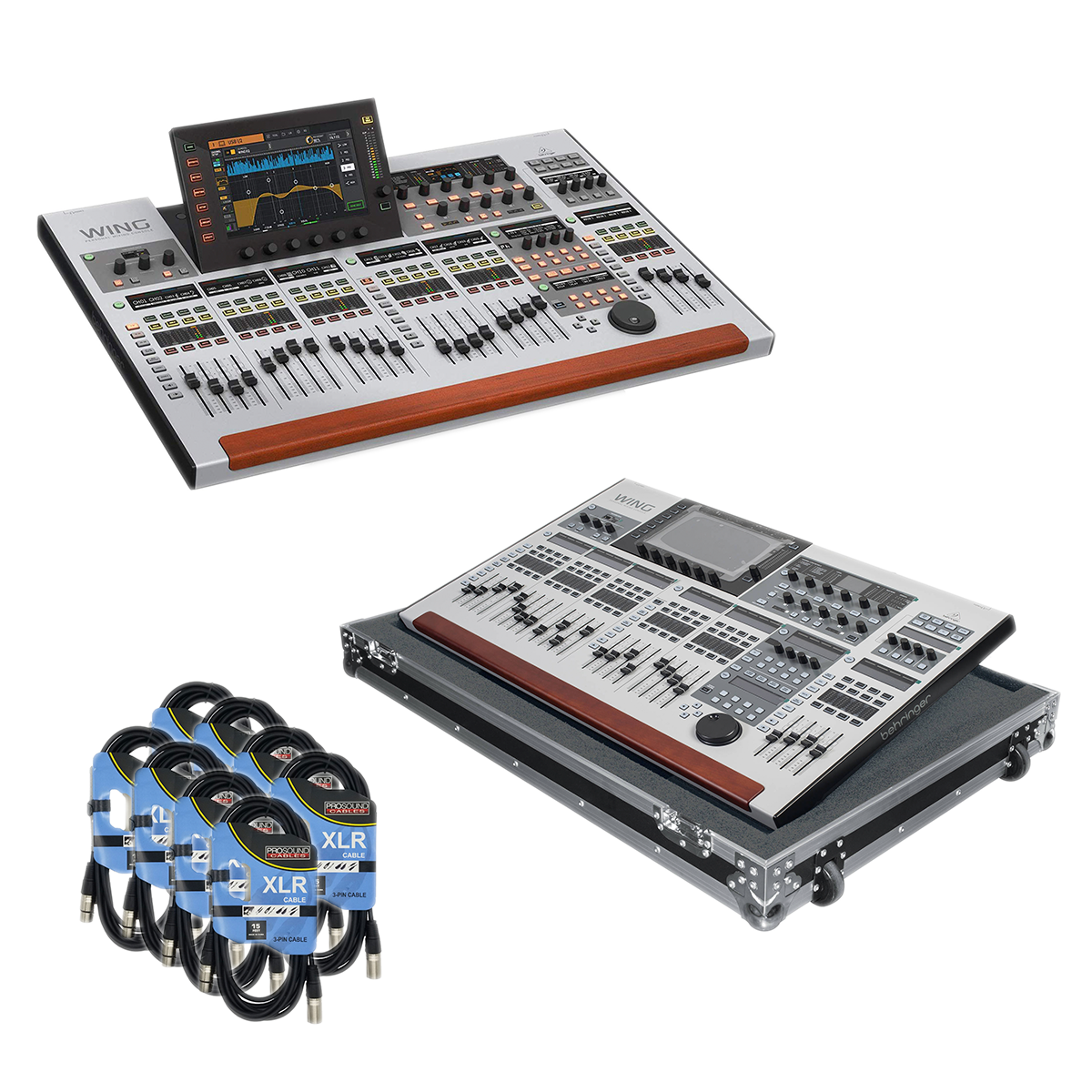 - 1 Behringer WING Mixing Console - Gator GTOURWINGNDH Case - 8 XLR Cable - $3499.99