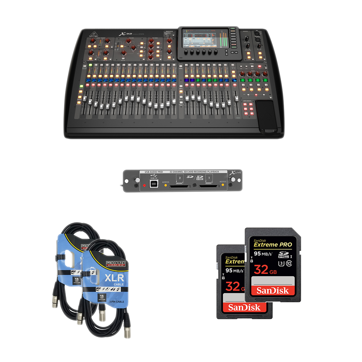 -1 Behringer X32 40-Channel - X-LIVE X32 Expansion Card - 2 XLR Cables - 2 SD 32GB - $2499.99