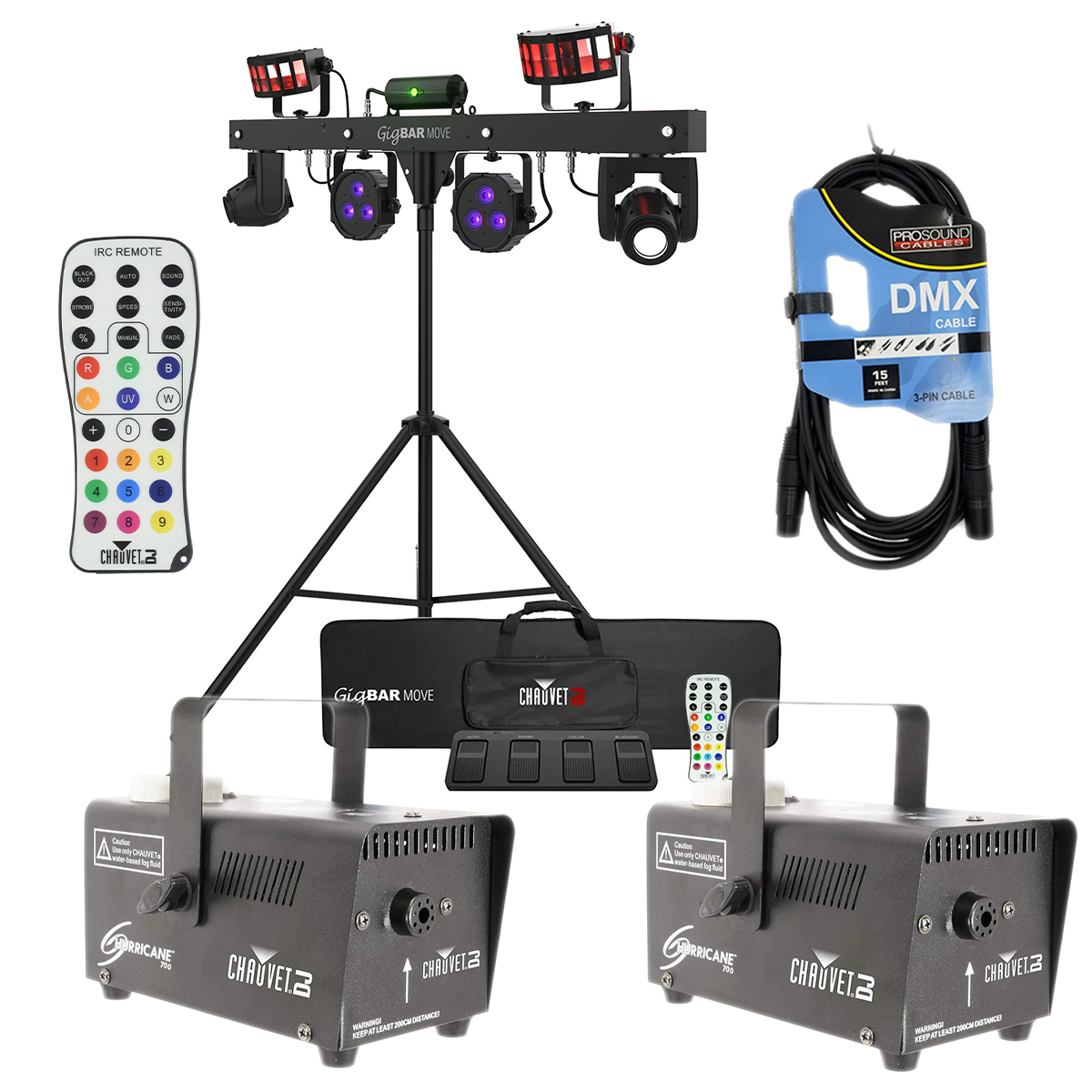-1 CHAUVET DJ GigBAR Move 5-in-1 Lighting System - Chauvet Hurricane 700 Fog Machine (Pair) - Remote Control - DMX Cable - $799.99