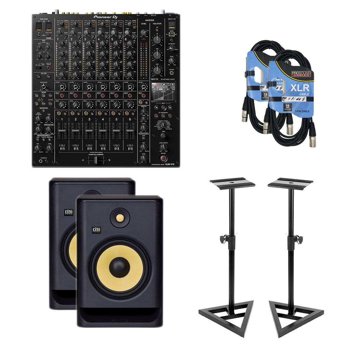 1-Pioneer-DJ-DJM-V10-6-Channel-KRK-RP8G4-Pair-Monitor-Stands-XLR-15FT-Cables-3518-2