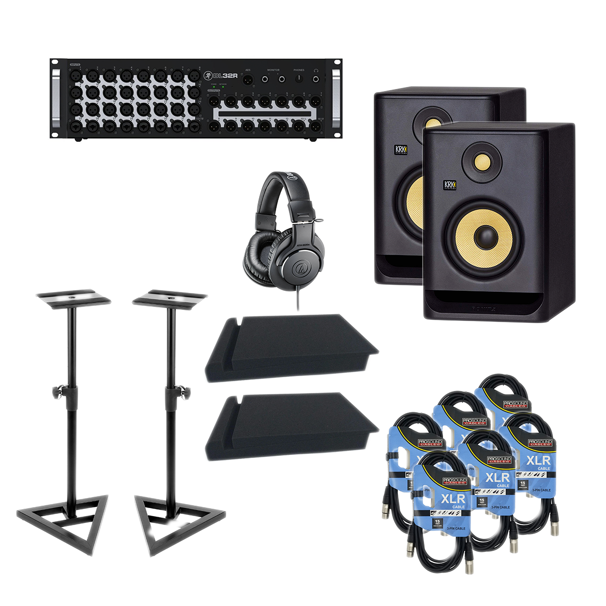 -2 Mackie DL32R 32-Channel - KRK RP5G4 Pair - Monitor Stands - Foam Pads - ATH-M20X - 6 XLR Cables - $2099.99