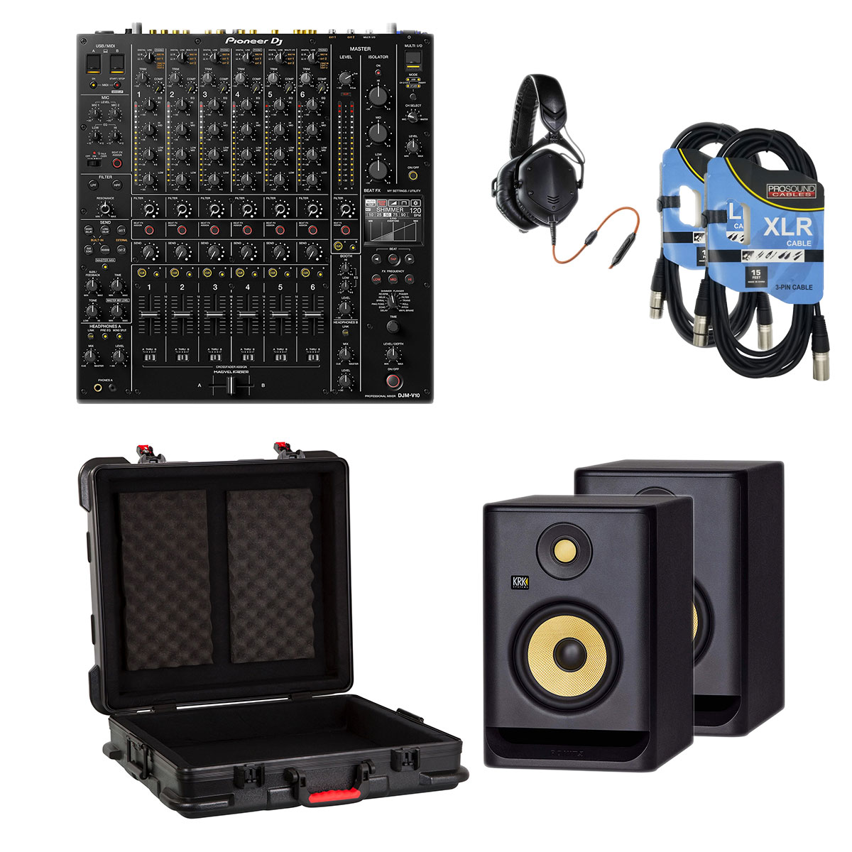 2-Pioneer-DJ-DJM-V10-6-Channel-GTSA-MIX192106-V-Moda-M100-KRK-RP5G4-Pair-XLR-Cables-3518-1