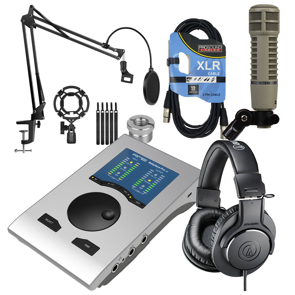 -2 RME Babyface Pro FS - Electro-Voice RE20 - XLR Cable - ATH-M20X - InnoGear Mic Stand Suspension Boom - $1249.99