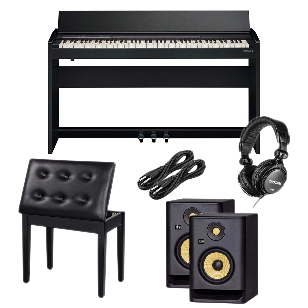 -2 Roland F-140R Digital Piano - Piano Bench - Tascam TH02 - 1:4 Cables 2 - KRK RP5G4 Pair - $1499.99