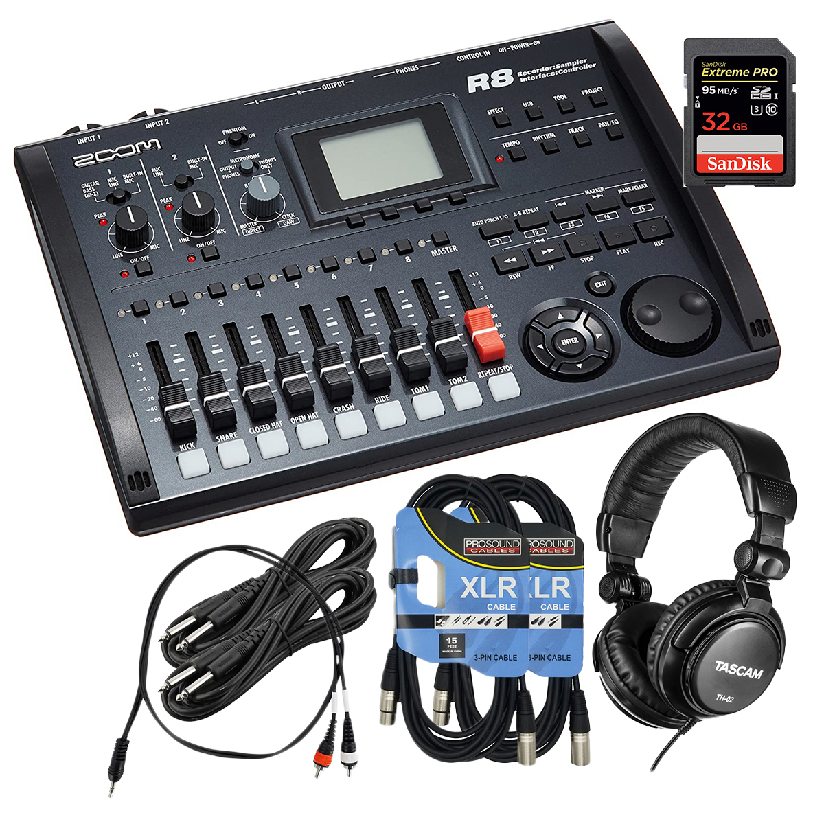 -2 Zoom R8 8-Track Digital - (2) XLR Cables - (2) 1:4 Cables - 1 Dual RCA to 3.5MM - 32GB SD - Tascam TH02 - $299.99