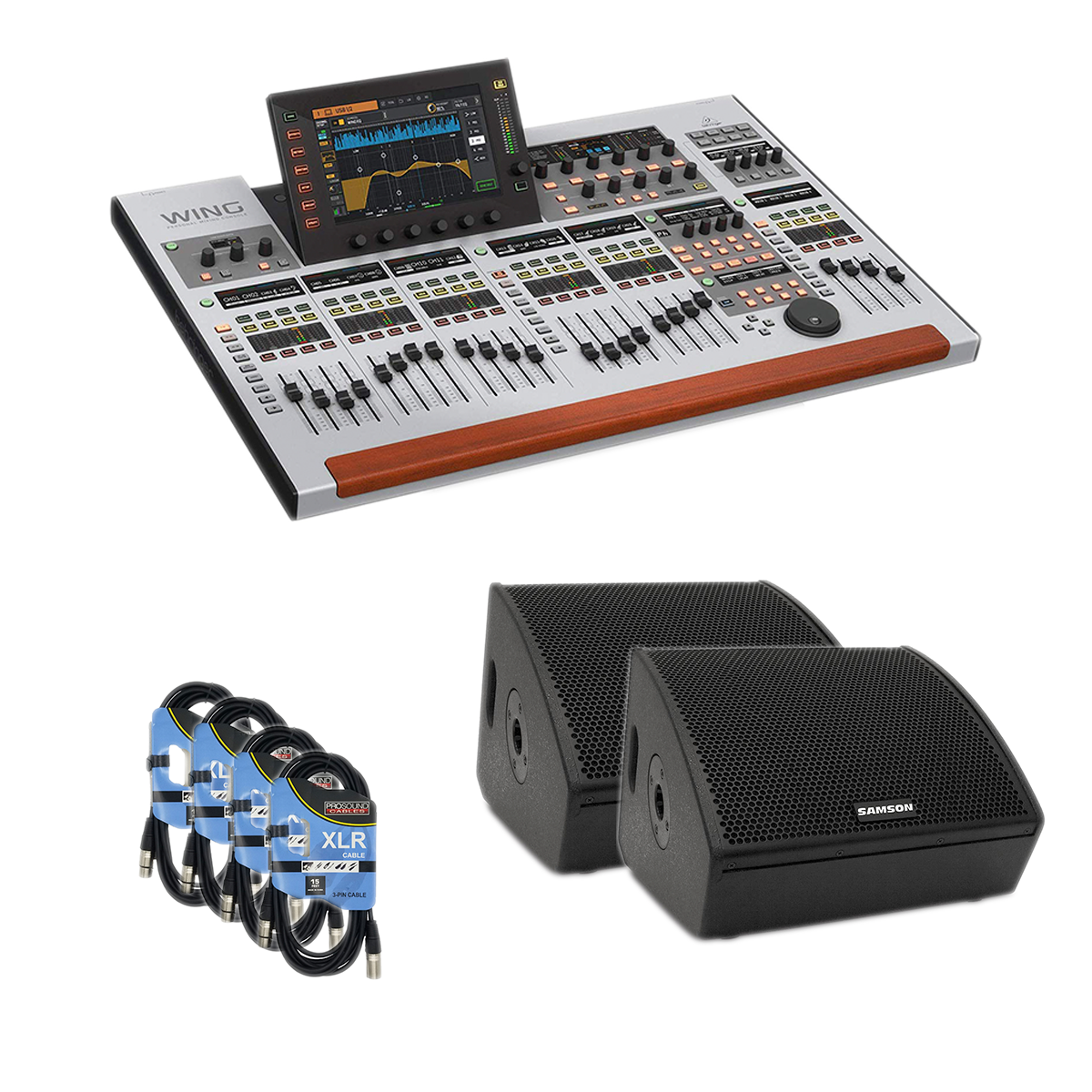 - 3 Behringer WING Mixing Console - Samson RSXM12A Pair - 4 XLR Cable - $3499.99