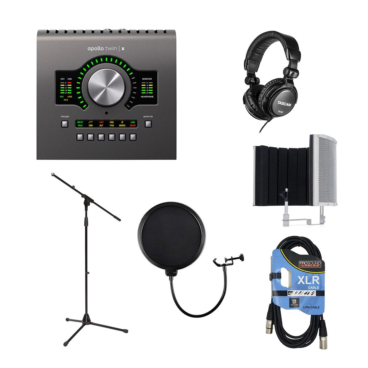 -3 Universal Audio Apollo Twin X DUO - Marantz Filter - Tascam TH02 - Mic Stand - Pop Filter - XLR Cable - $899.99