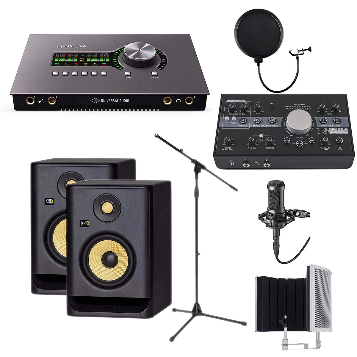 -3 Universal Audio Apollo x4 - Mackie Big Knob Monitor - KRK RP5G4 Pair - AT2035 - Mic Stand - Pop Filter - Marantz Filter - $1999.99