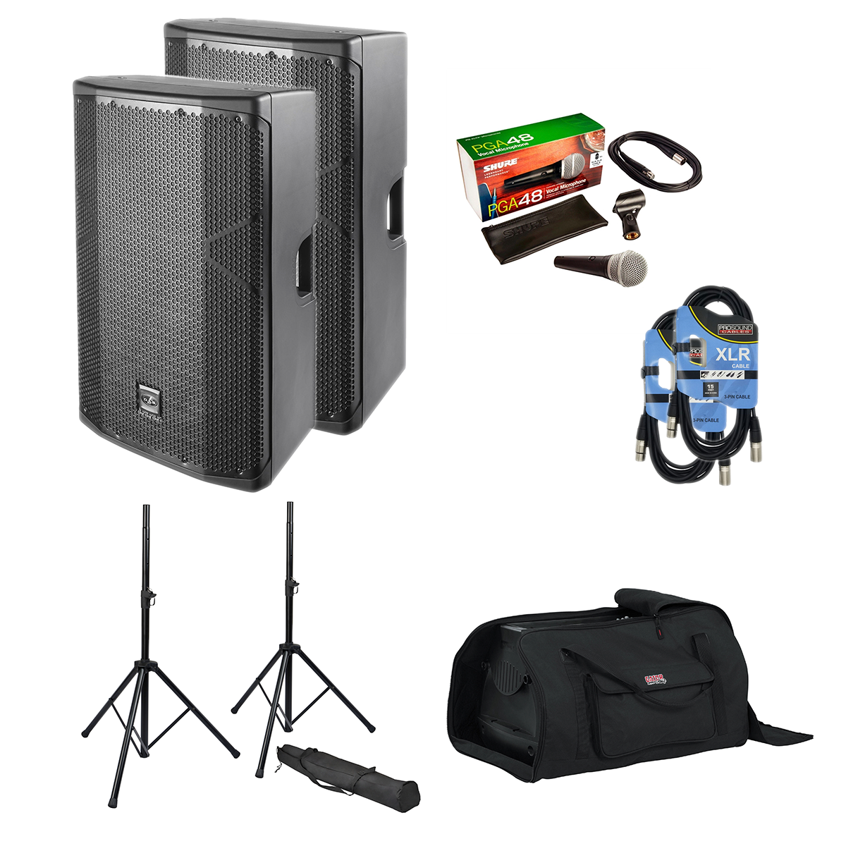 -4 DAS Altea 415A Pair - Speaker Stands - Gator Tote15 2 - XLR Cables 2 - PG48 Mic - 1099.99