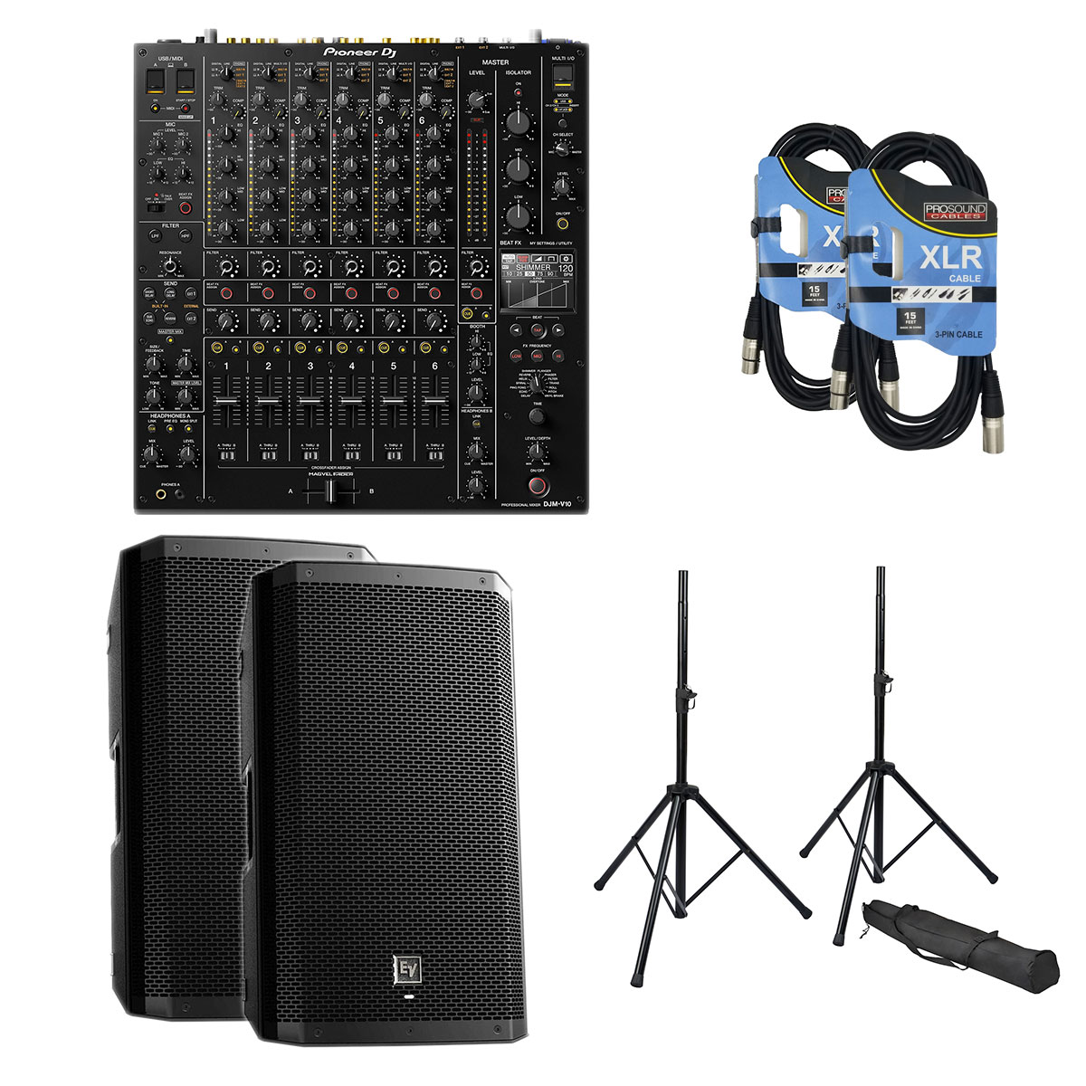 4-Pioneer-DJ-DJM-V10-6-Channel-EV-ZLX12BT-Pair-Speaker-Stands-XLR-15Ft-Cables-3518-2