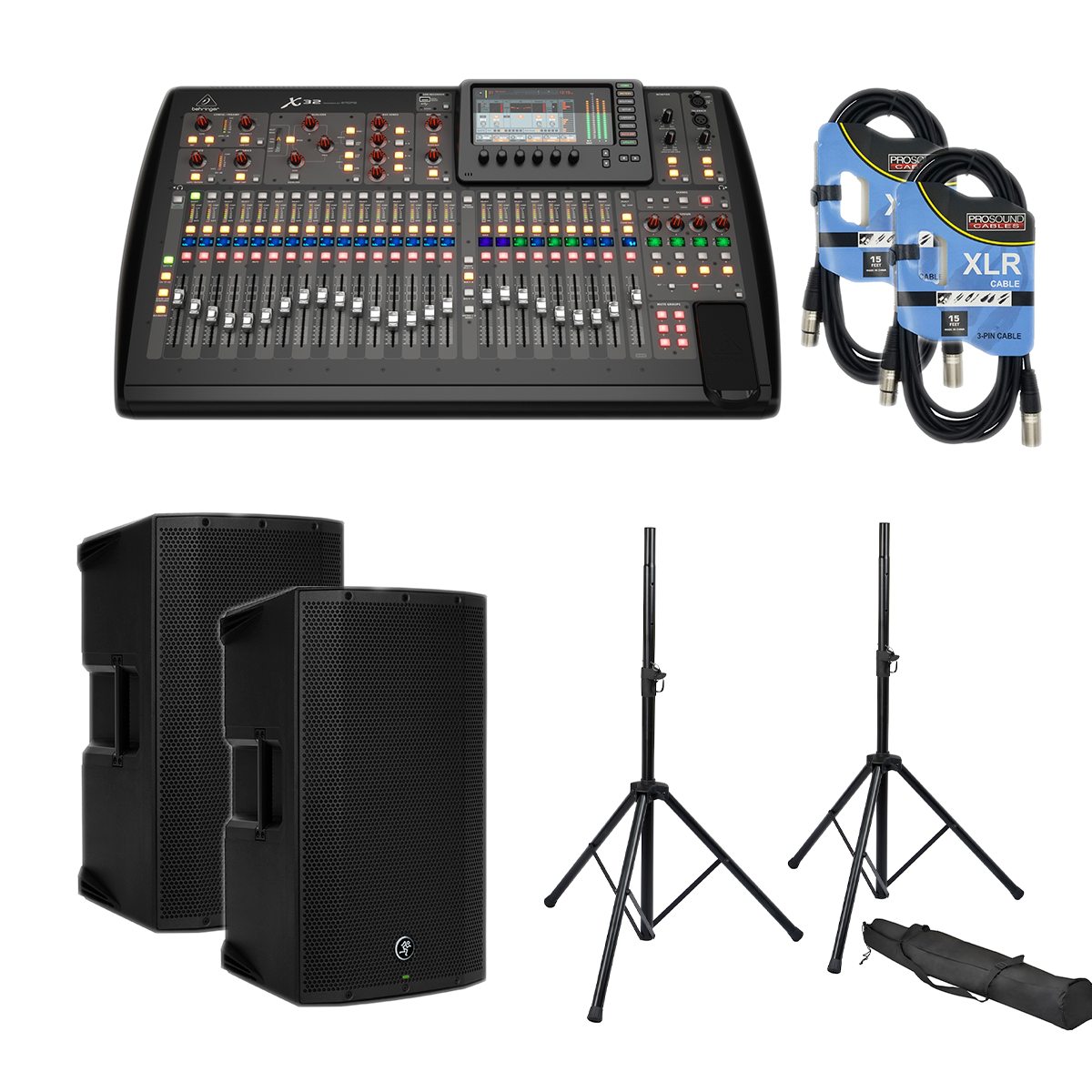 -6 Behringer X32 40-Channel - Mackie Thump12A Pair - Speaker Stands - 2 XLR Cables - $2749.99