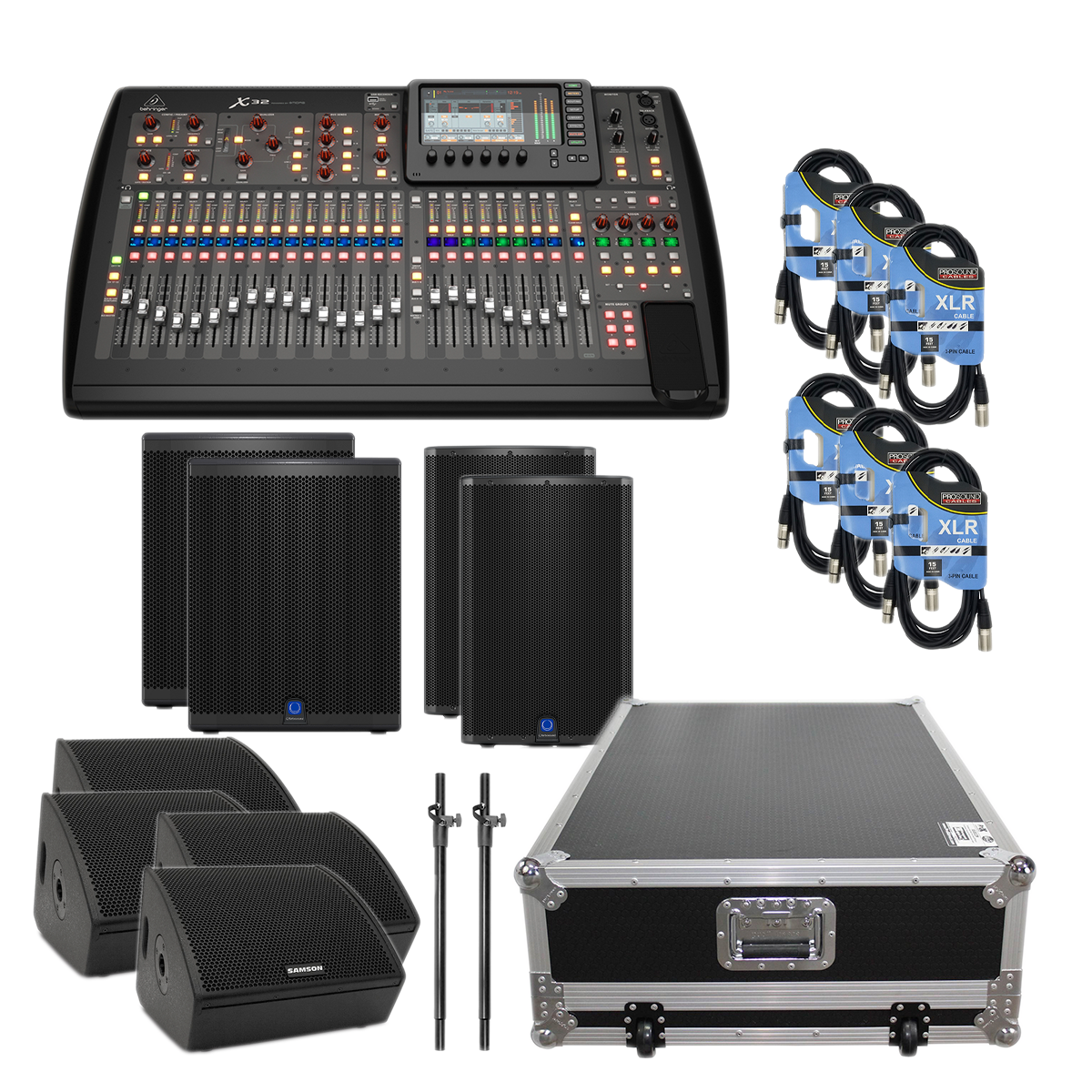 -7 Behringer X32 40-Channel - (4) Samson RSXM12A - (2) TurboSound IQ15 - (2) TurboSound IQ18B - XS-BX32W - (2) Speaker Poles - (6) XLR50FT Cables - $6999.99