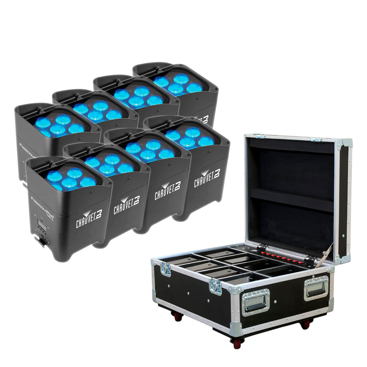 (8) Chauvet DJ Freedom Par Tri-6 - AMERICAN DJ ELEMENT FC Flight Case for ADJ Element Pars