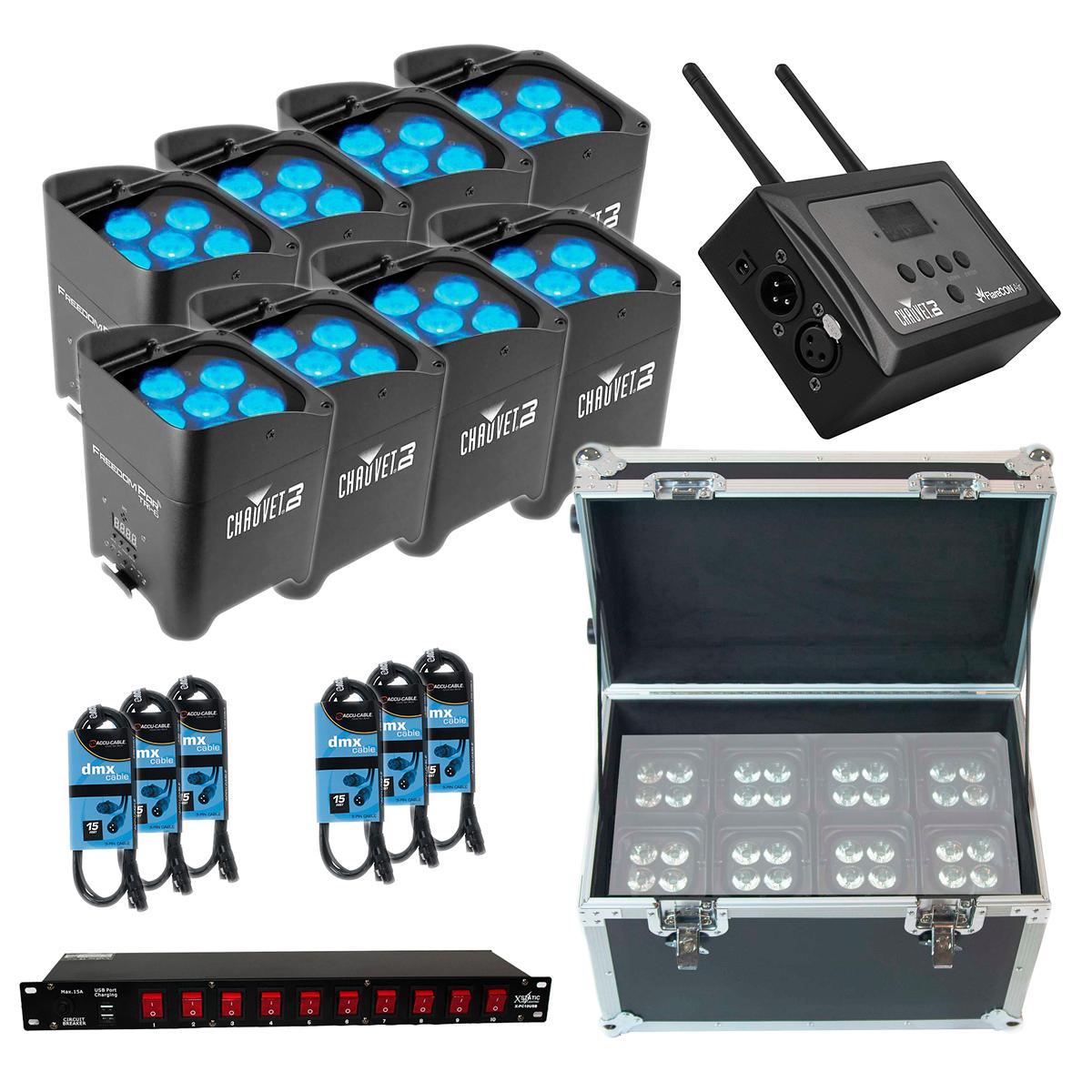 (8) Chauvet DJ Freedom Par Tri-6 - Chauvet DJ FlareCON Air - ProX T-UTIHW Roll-Away Utility Case - Xstatic X-PC10USB 10 Plug Power Conditioner - 6 DMX 15FT Cable
