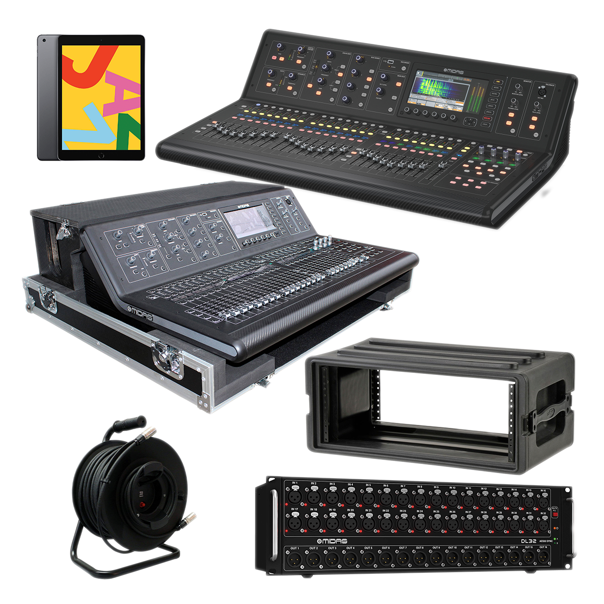 - 8 Midas M32 LIVE - ProX XS-MIDM32DHW - DL32 - Proco Cat6e 150Ft - Apple iPad - SKB 1SKB-R4S - $6999.99