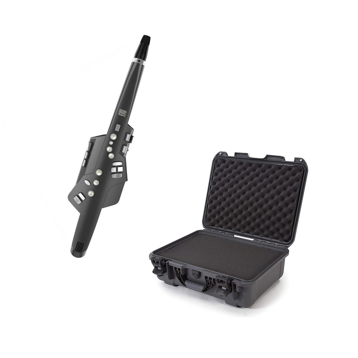 Roland Aerophone AE-10 Digital Wind Instrument (Graphite Black) - Casematix Waterproof Case