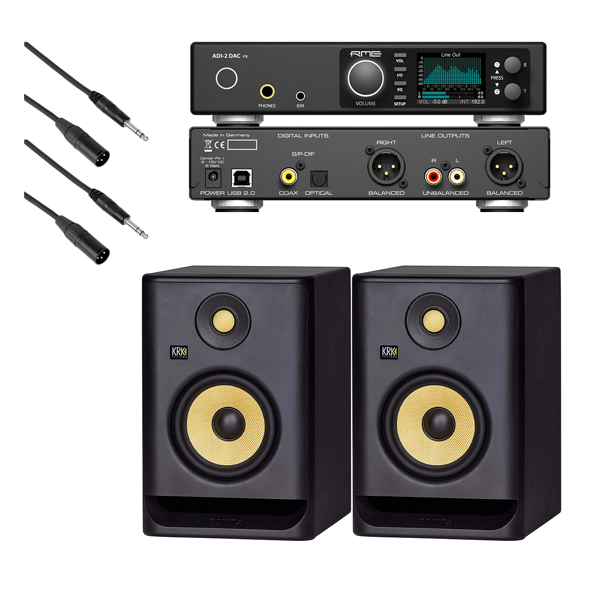 -1 RME ADI-2 DAC FS 2-channel DA Converter - KRK RP5G4 Monitors (Pair) - (2) XLR Cables to 14 - $1329.99