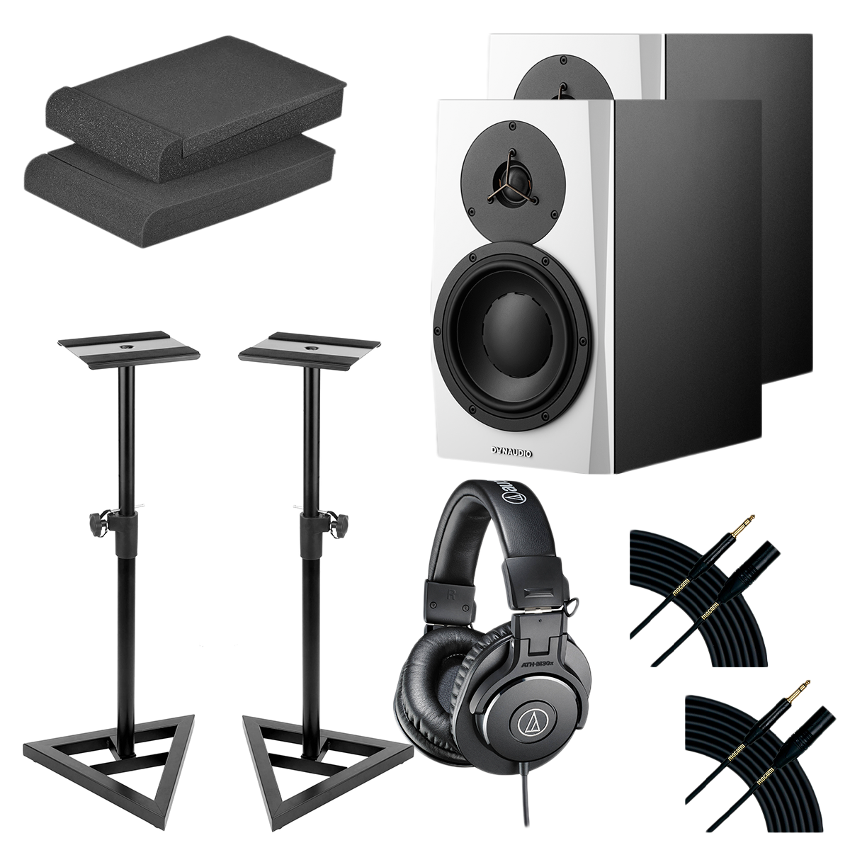 -16 Dynaudio LYD 7 7″ Powered Studio Monitor White (Pair) - Monitor Stands - (2) Mogami Cable - Foam Pads - ATH-M30X Headphone - $1299.99