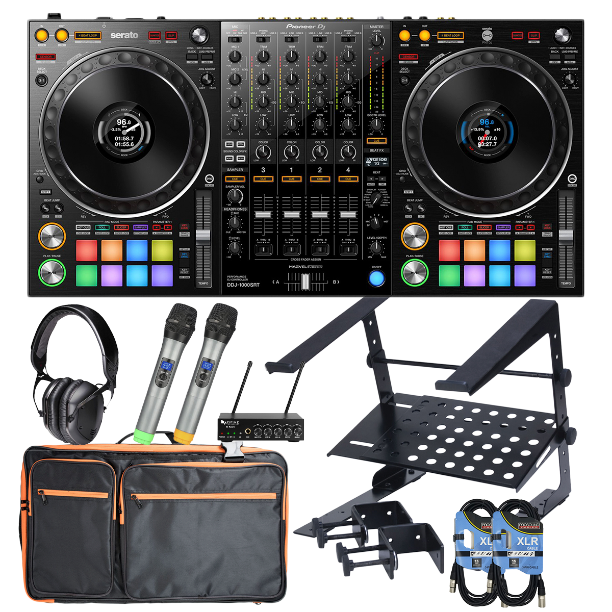 -1Pioneer DJ DDJ-1000SRT DJ Controller - Accenta Backpack - V-Moda LP2 - Laptop Stand - Fifine UHF Dual Channel Wireless - (2) XLR Cables - $1428.90