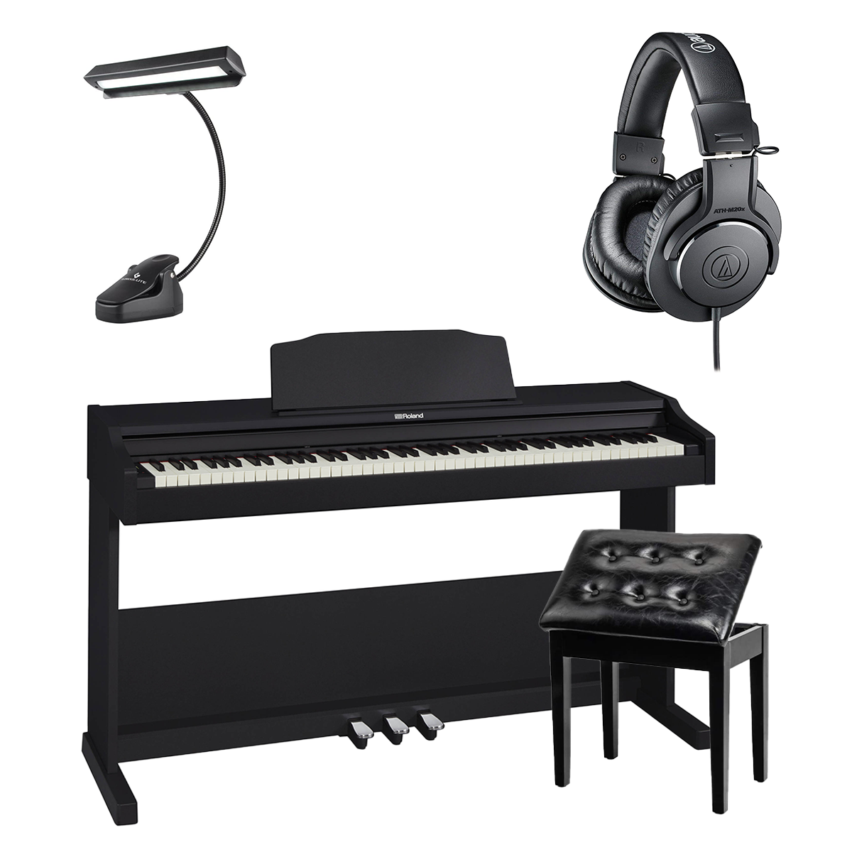 -2 Roland RP-102-BK Digital Piano (Black) - Bonnlo Padded Piano Bench - 14 LED Music Stand Light - AT ATHM20X - $929.99