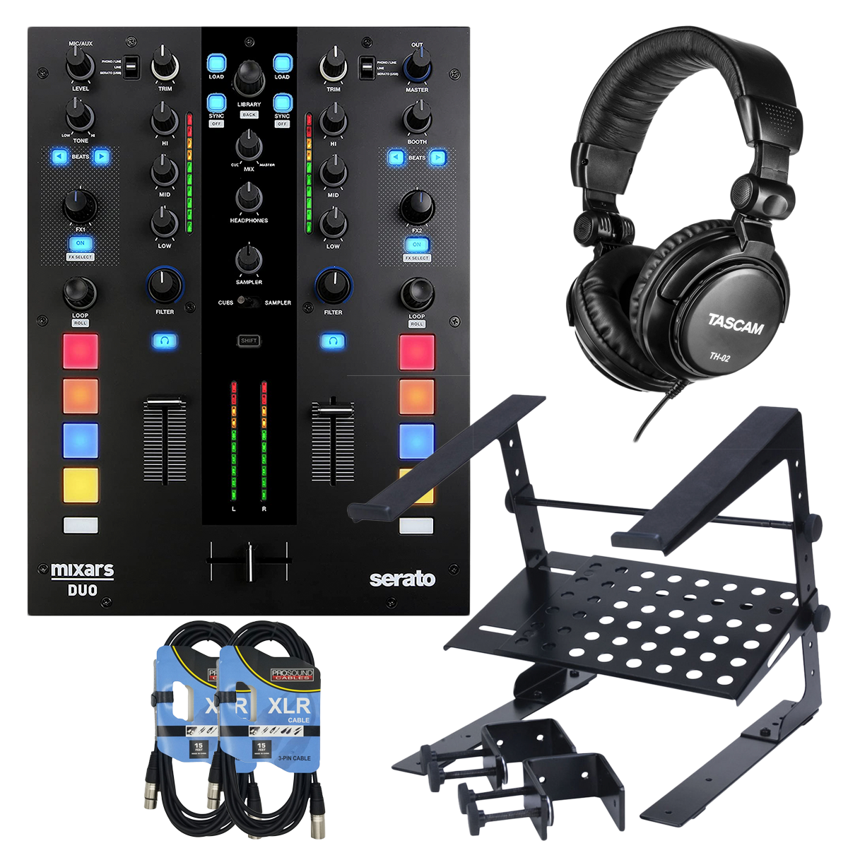 -3Mixars Duo MKII 2-Channel DJ Battle Mixer - Tascam TH02 - Laptop Stand - (2) XLR Cables - $599.99