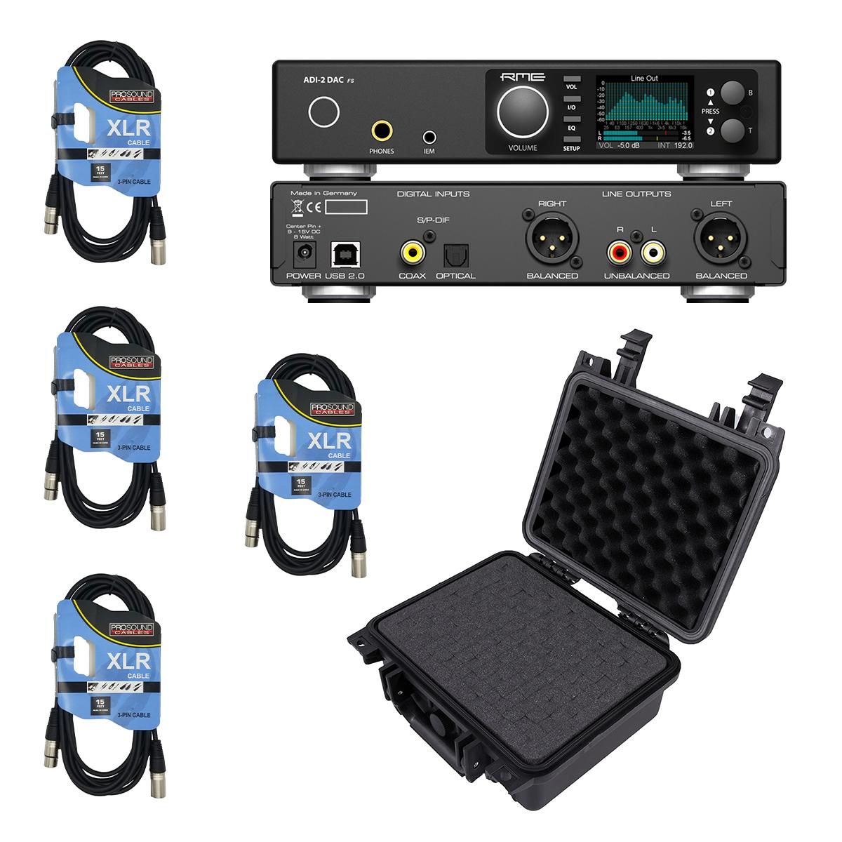 -4 RME ADI-2 DAC FS 2-channel DA Converter - (4) XLR Cables - Casematix Waterproof Studio Recording Case - $1149.99