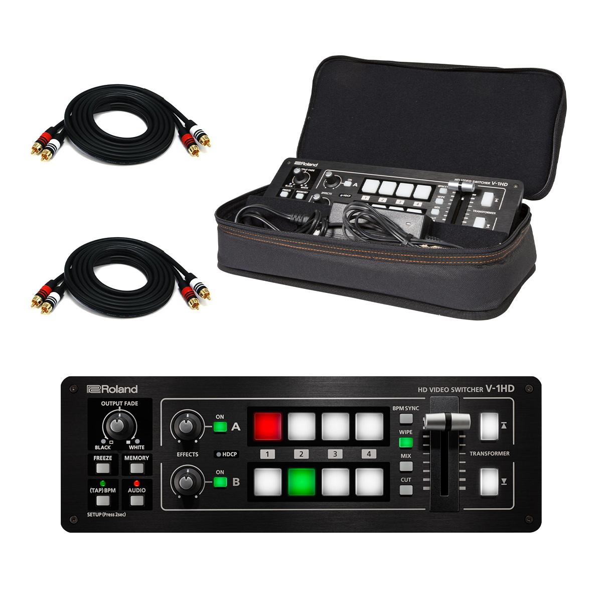 -4 Roland V-1HD Portable 4 x HDMI Input Switcher - Roland CB-BV1 Bag - (2) RCA Cables - $995.00