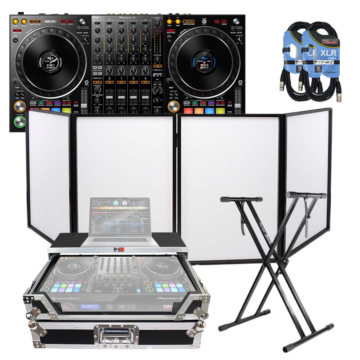 -5Pioneer DJ DDJ-1000SRT Club-style 4-Channel - ProX XS-DDJ1000WLT - (2) XLR Cables - Keyboard Stand - Pyle DJ Facade PDJFAC10
