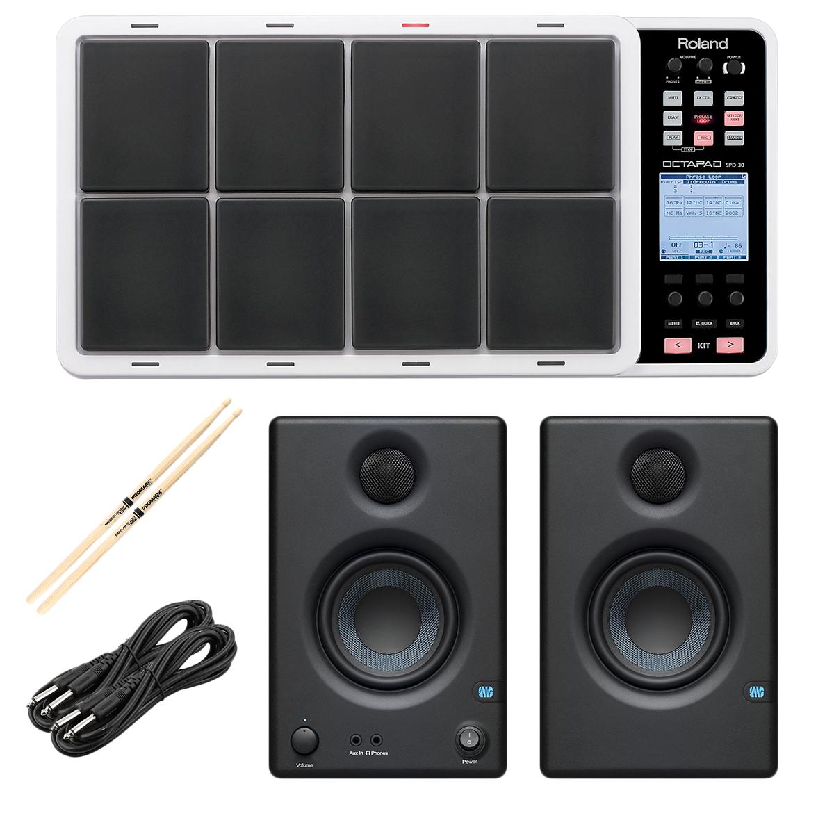 -8 Roland OCTAPAD SPD-30 White - Presonus ERIS3.5 Monitors - (2) 1:4 Cables - Drum Sticks - $749.99