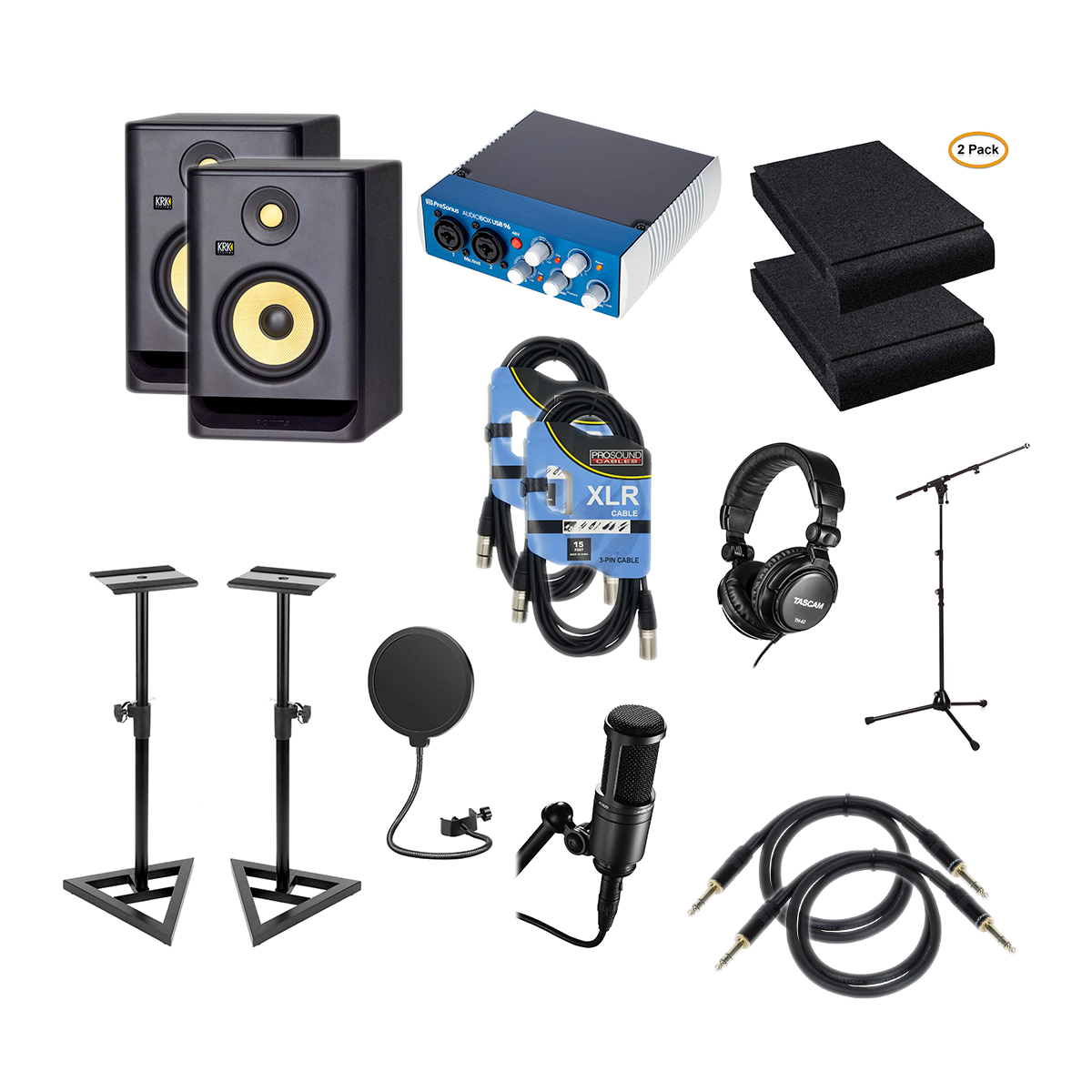 KRK-ROKIT-5-G4-5″-Pair-PreSonus-AudioBox-USB-96-Audio-Technica-AT2020-POP-Filter-Mic-Stand-Studio-Monitor-Stand-2-Foam-Pads-XLR-Cables-2-14-Cables-2-Tascam-TH02-.png