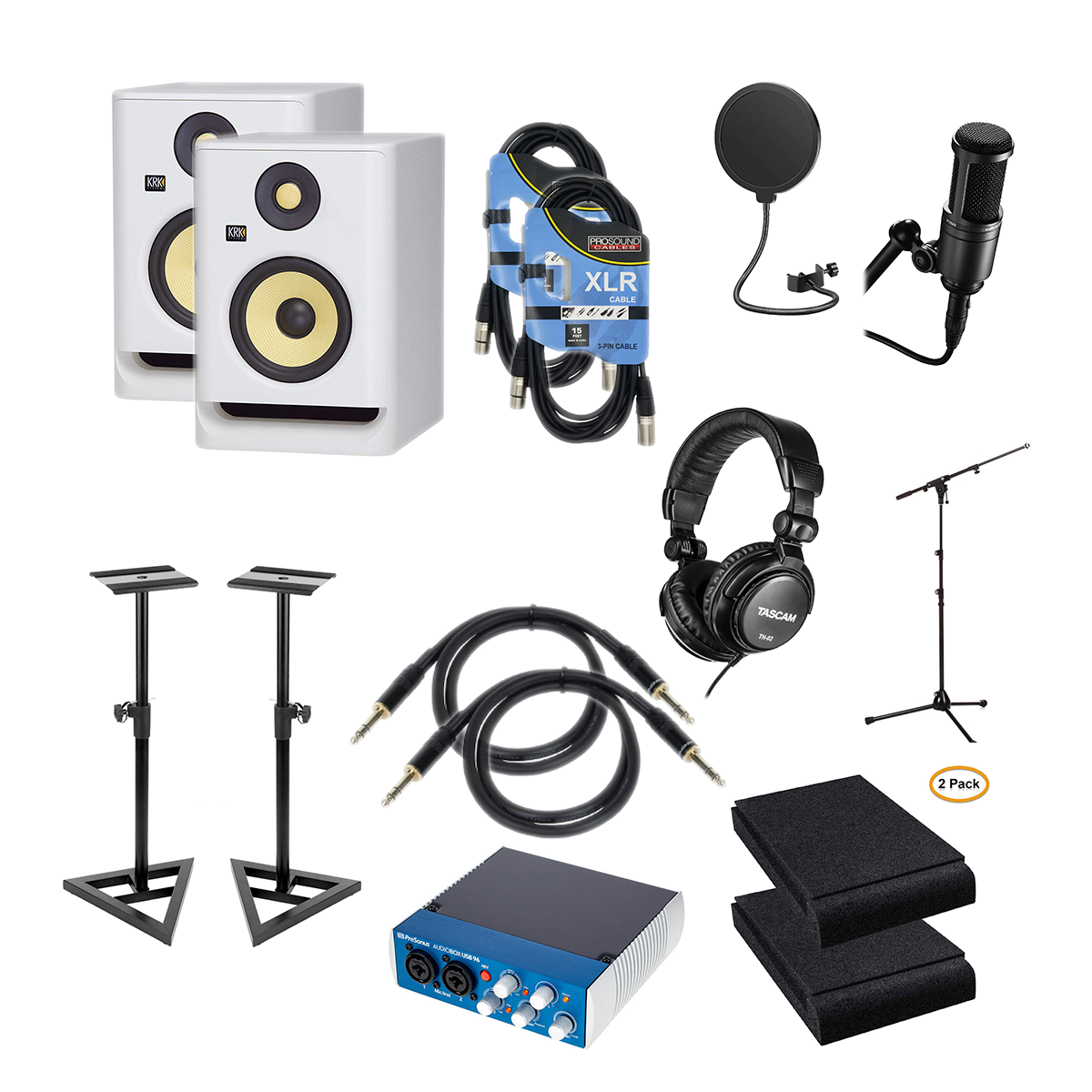 KRK-ROKIT-5-G4-5″-White-Pair-PreSonus-AudioBox-USB-96-Audio-Technica-AT2020-POP-Filter-Mic-Stand-Studio-Monitor-Stand-2-Foam-Pads-XLR-Cables-2-14-Cables-2-Tascam-TH02.png