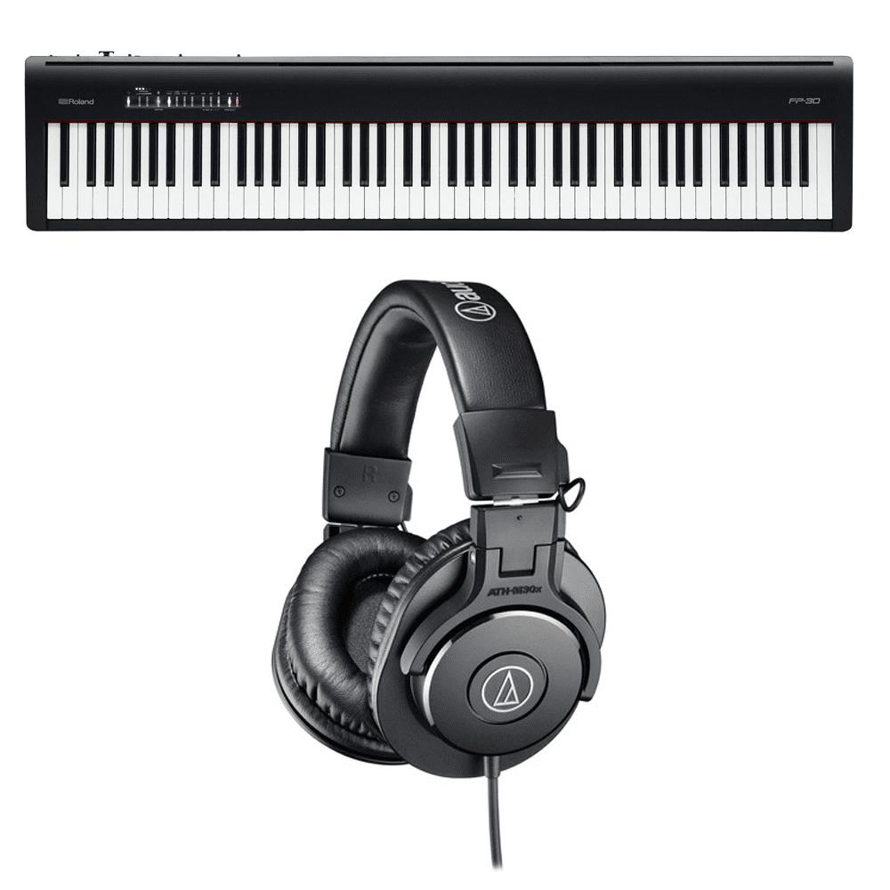 Roland Fp 30 Digital Piano Audio Technica Ath M30x Monitor Headphones Black Prosoundgear