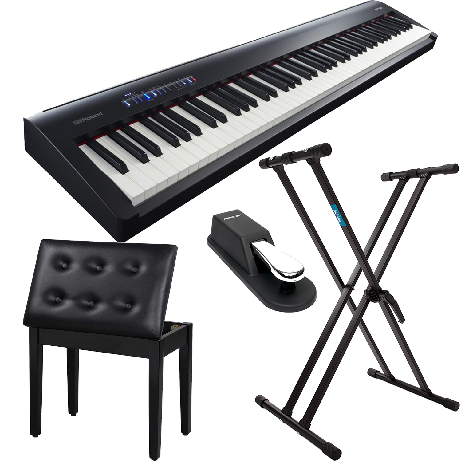 Roland Fp 30 Digital Piano Keyboard Stand Songmics Piano Bench Sustain Pedal Bundle Prosoundgear